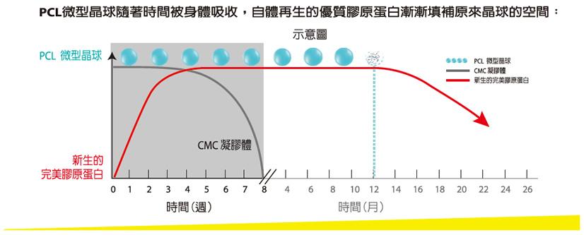 PCL微型晶球隨著時間被身體吸收,自體再生的優質膠原蛋白漸漸填補原來晶球的空間